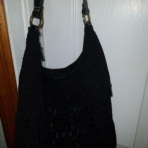 Black macrame bag